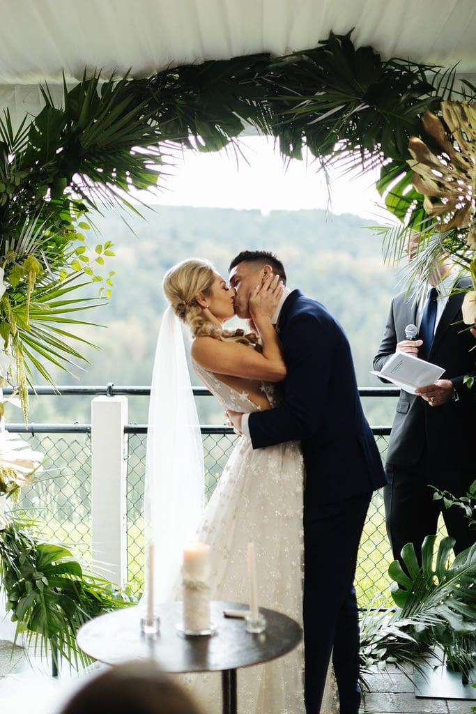 First kiss at Salish Lodge wedding