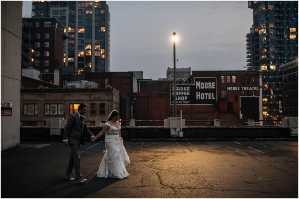 Night photos on the seattle skyline Palace Ballroom Wedding