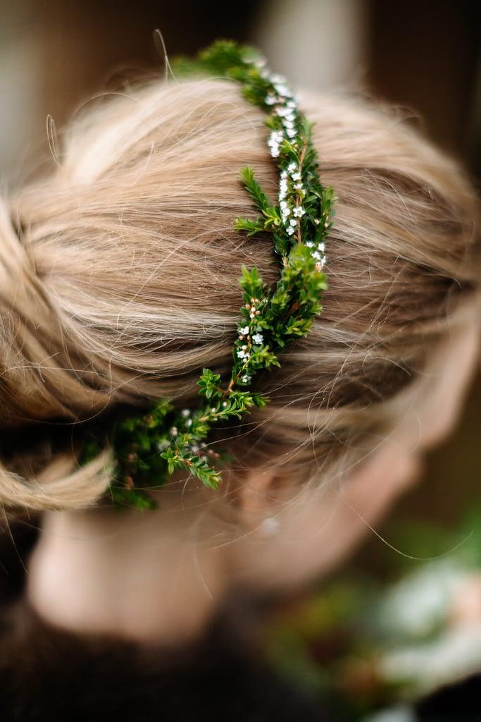 bride's flower crown olympic sculpture garden wedding