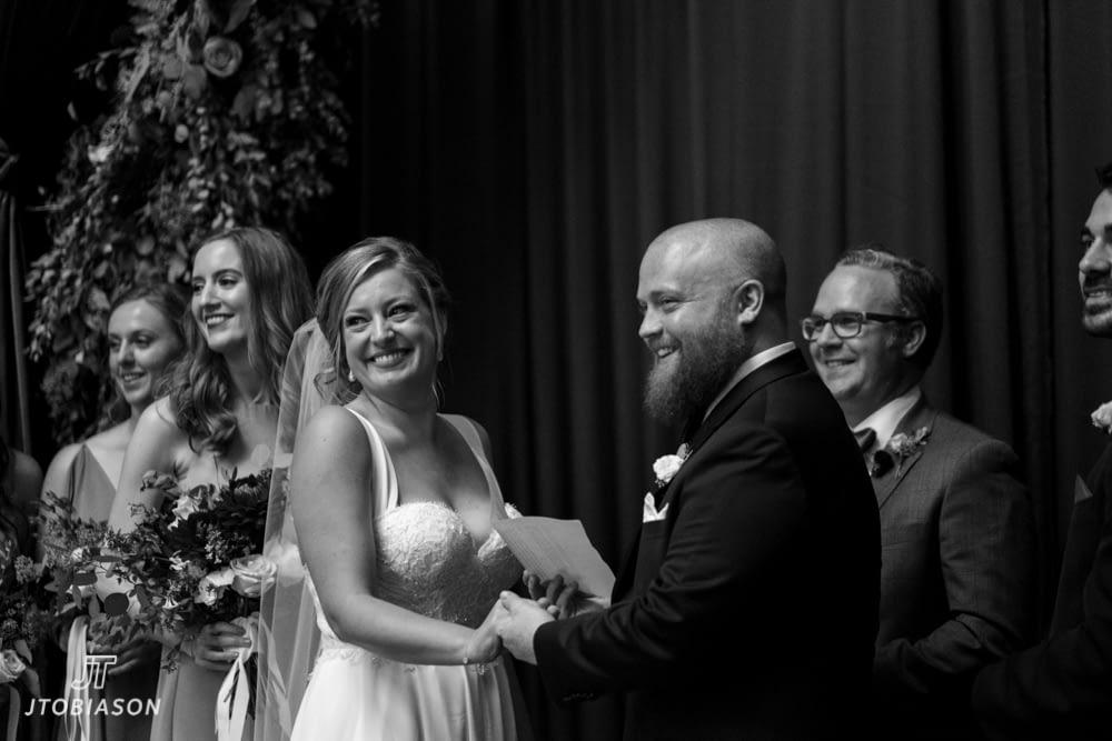 Bride and groom smile Westland Distillery Wedding