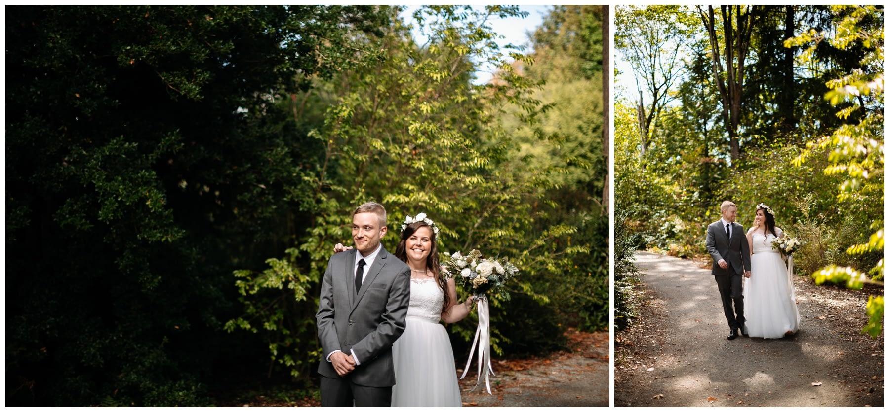 first look washington park arboretum wedding