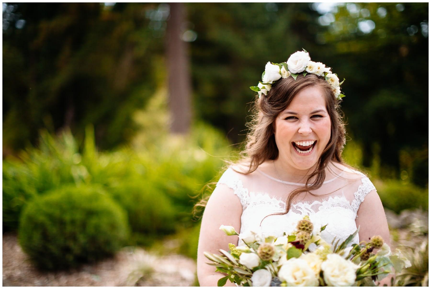bride laughs washington park arboretum wedding