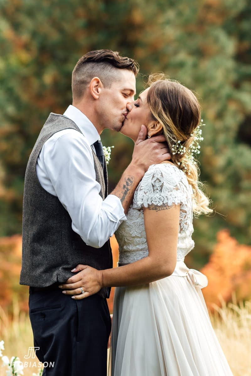 first kiss brown family homestead wedding