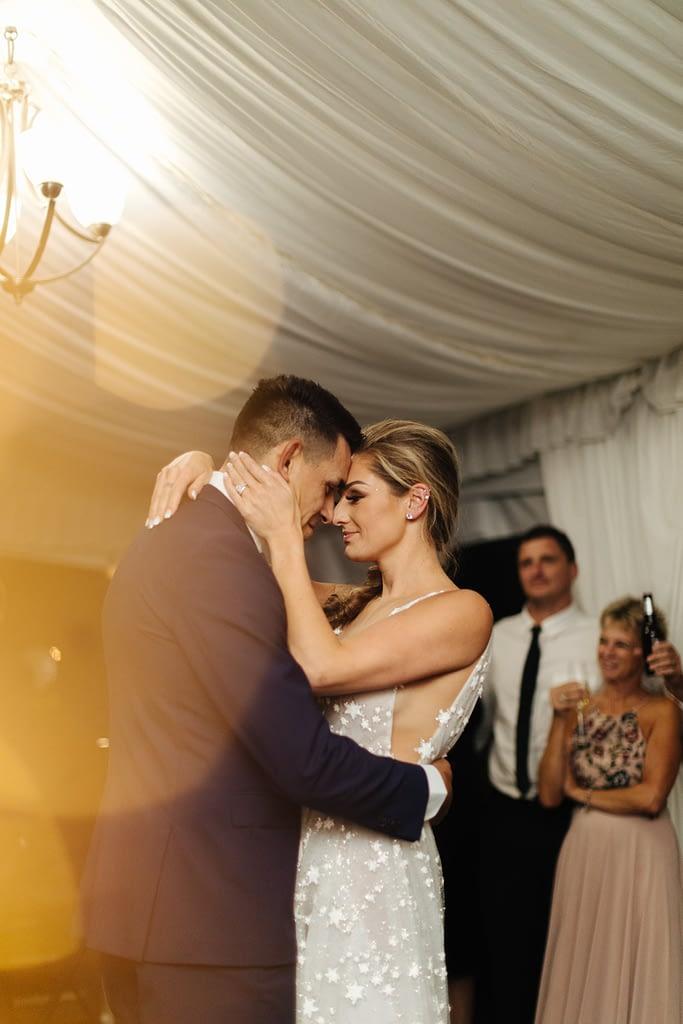 bride and groom have first dance Salish Lodge wedding