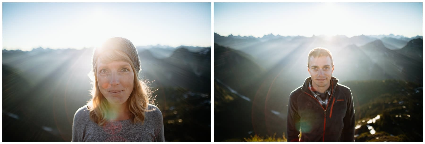 couple stands together at sunrise northwest backpacking engagement