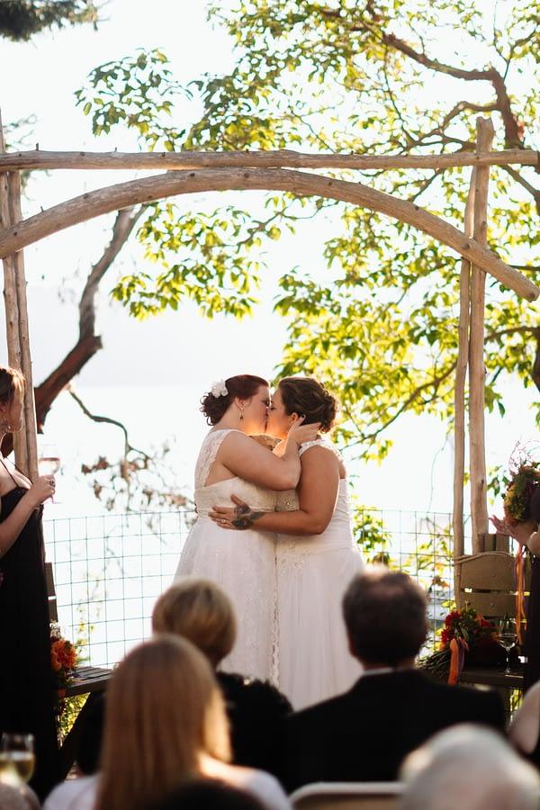gay couple kisses odd fellows hall eastound wedding