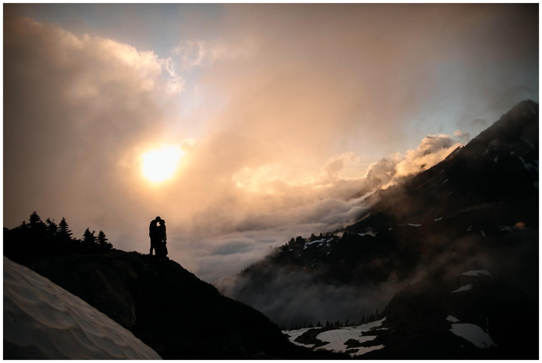 cascade mountaintop sunset engagement