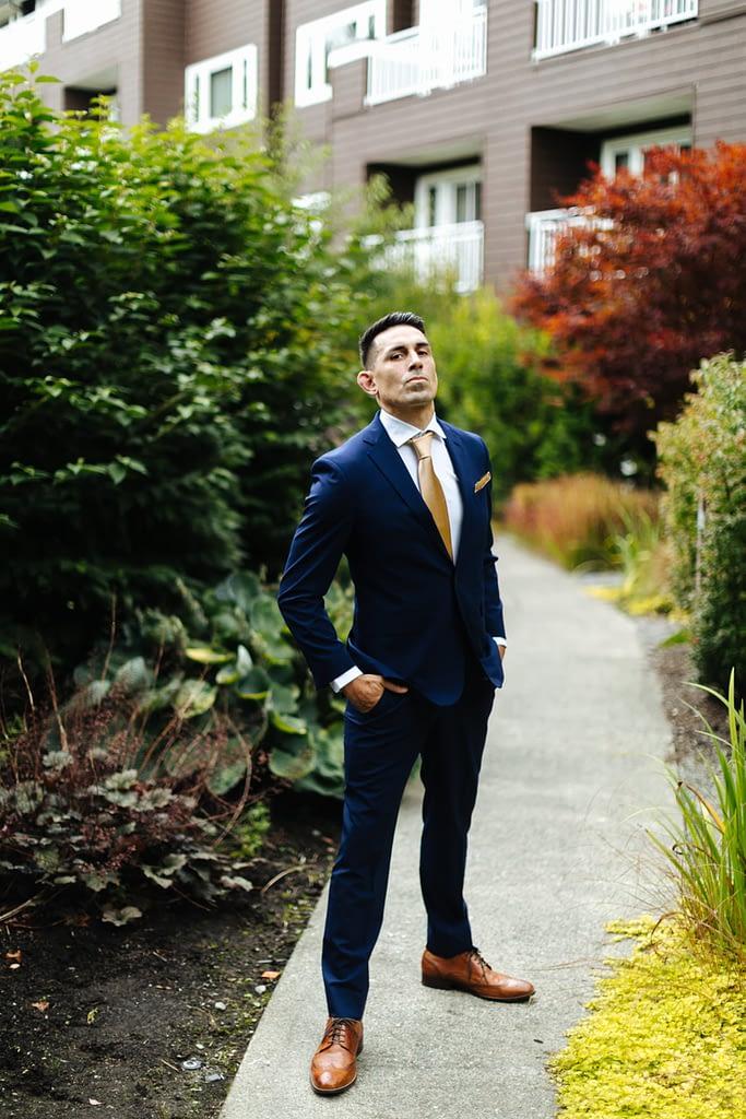 Groom poses before first look Salish Lodge wedding
