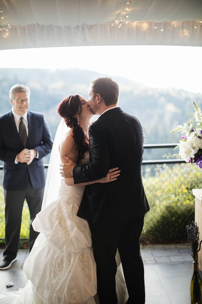 First kiss at Salish Lodge wedding venue