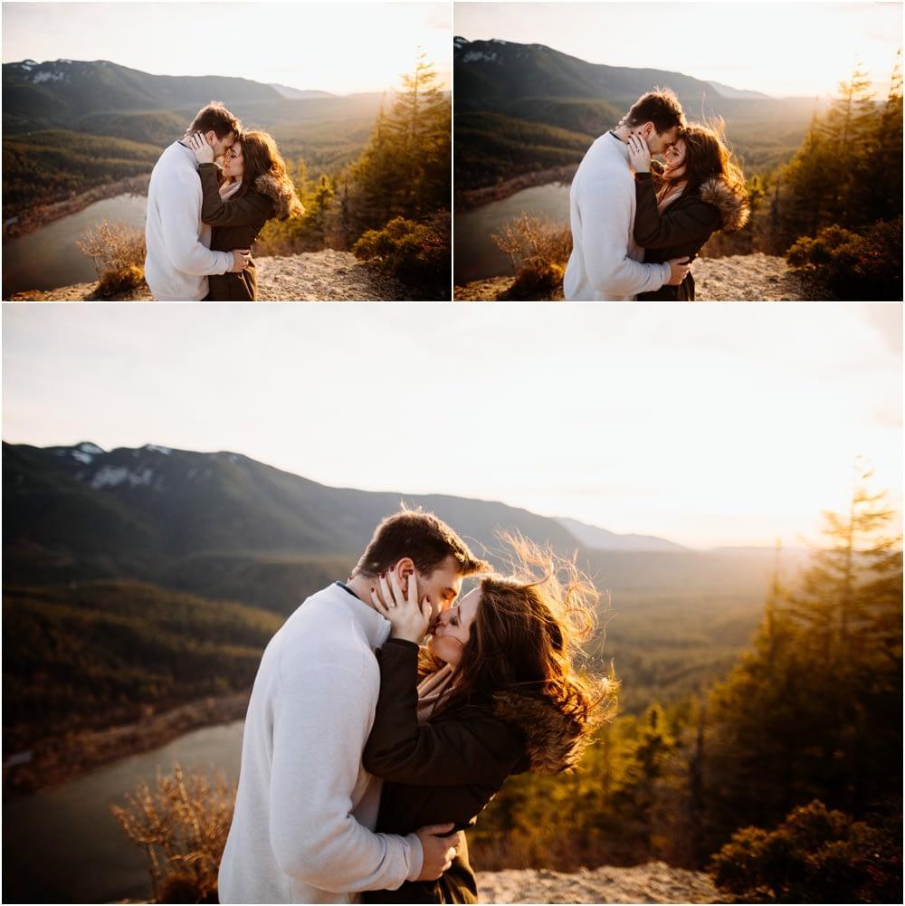 Couple kisses in the Sunset Rattlesnake Ledge Engagement