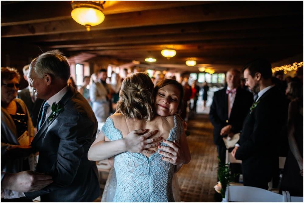 bride hugs her mom Crockett Farm Wedding