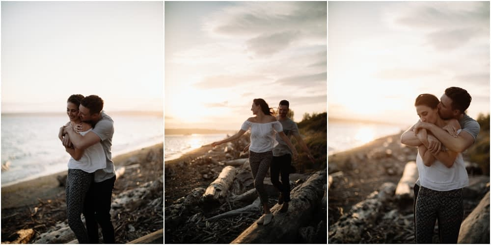 couple hugs on logs Sunset Discovery Park Engagement