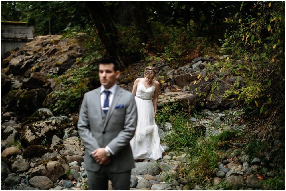 First look Preston Community Center wedding