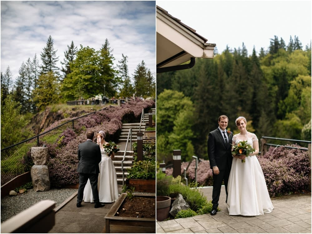 Bride and groom first look Salish Lodge Wedding