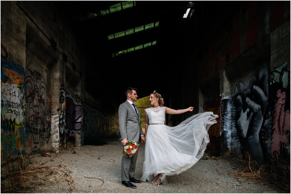 bride throws dress Preston Community Center wedding