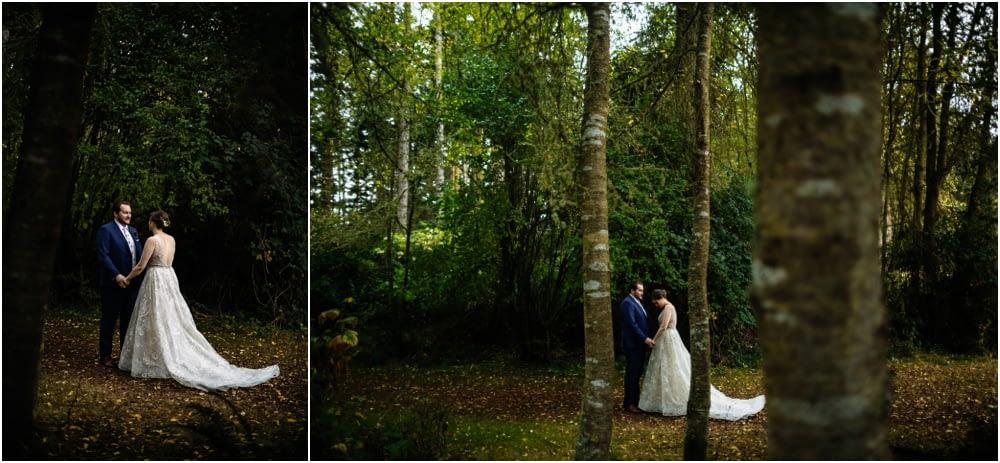 first look in the woods Crockett Farm Wedding