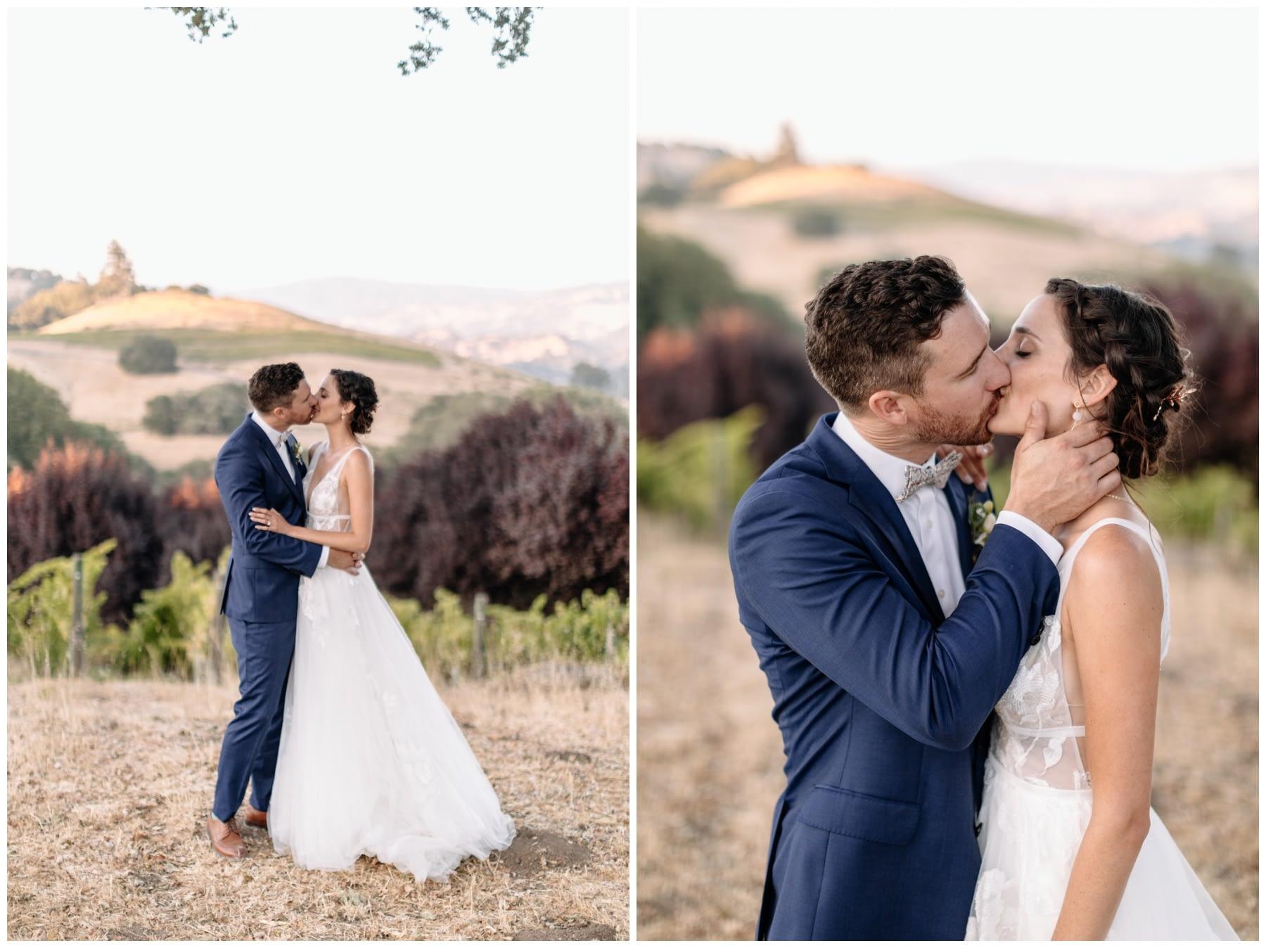 bride and groom kiss Highland Estate Wedding