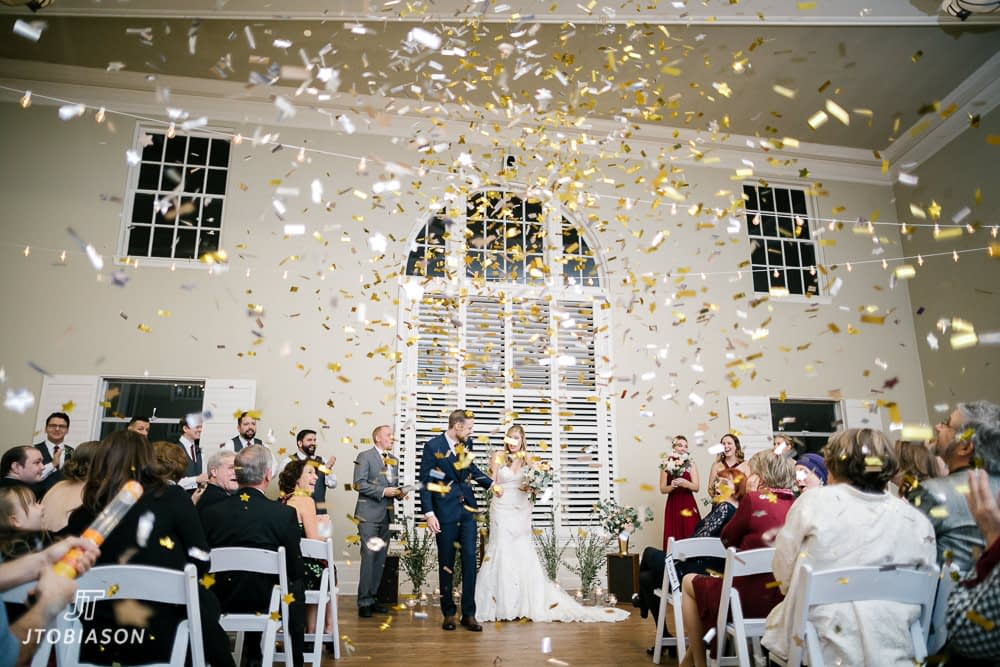 confetti canons great hall at green lake wedding photo