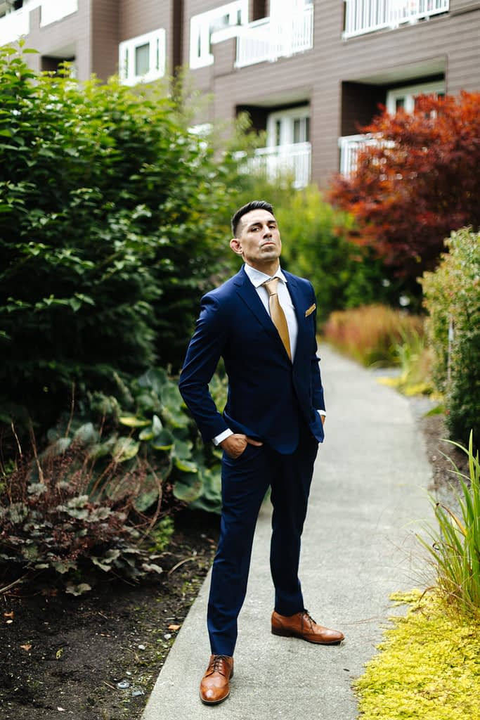 Groom poses before first look Salish Lodge wedding