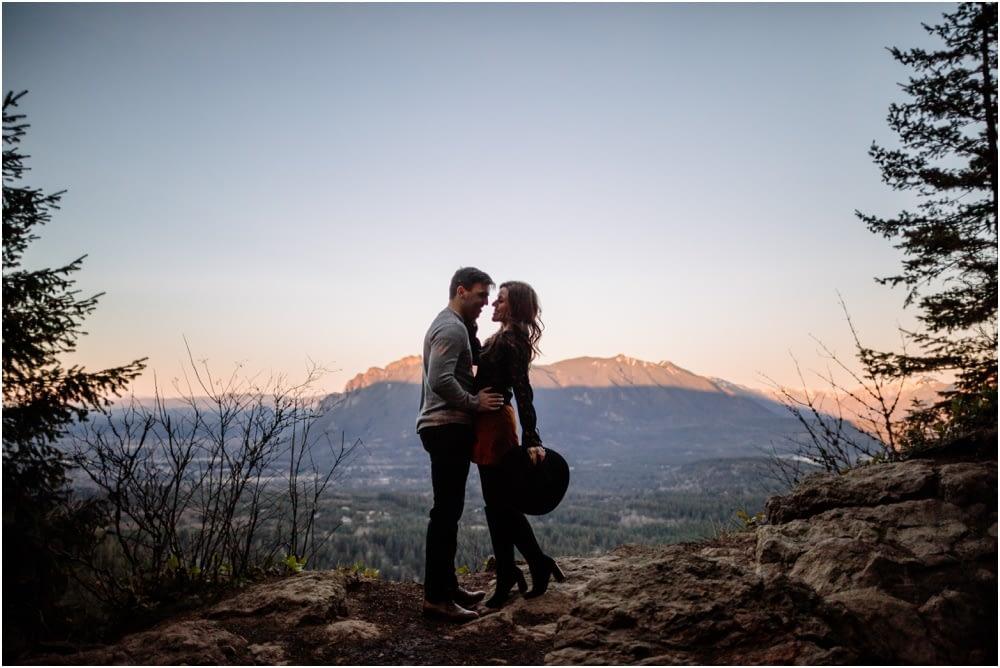 Sunset hiking engagement