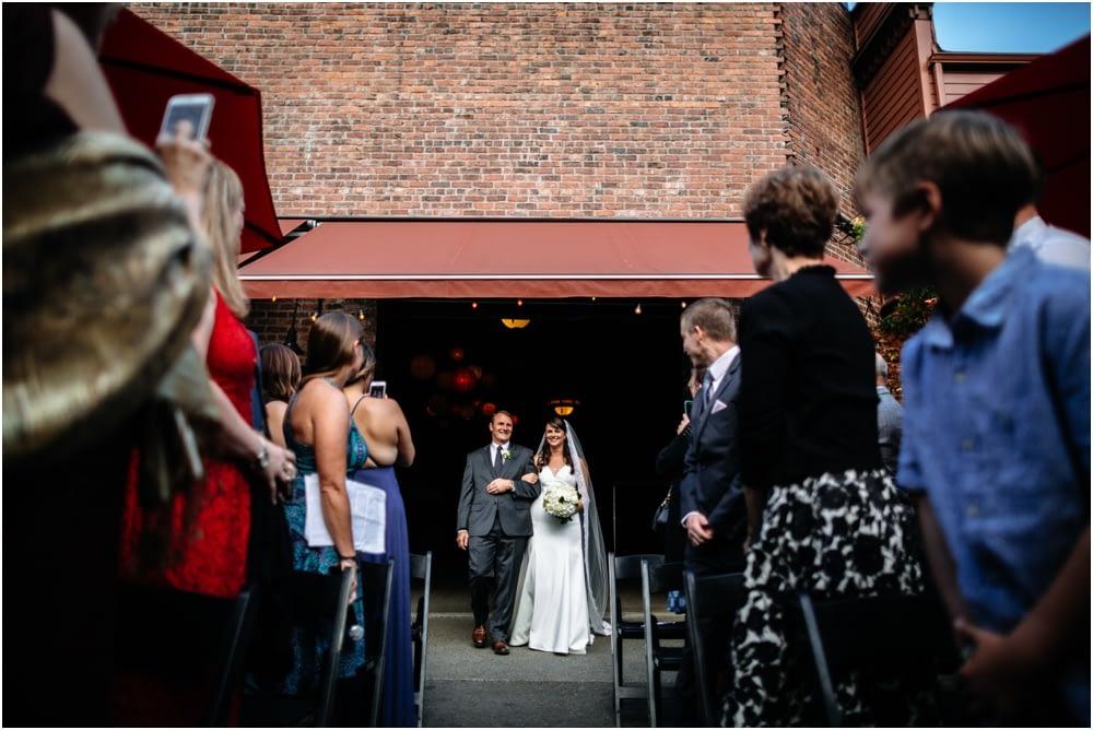 bride and dad walk down aisle Georgetown ballroom wedding