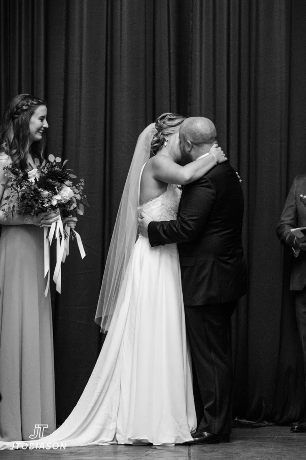 First Kiss Westland Distillery Wedding