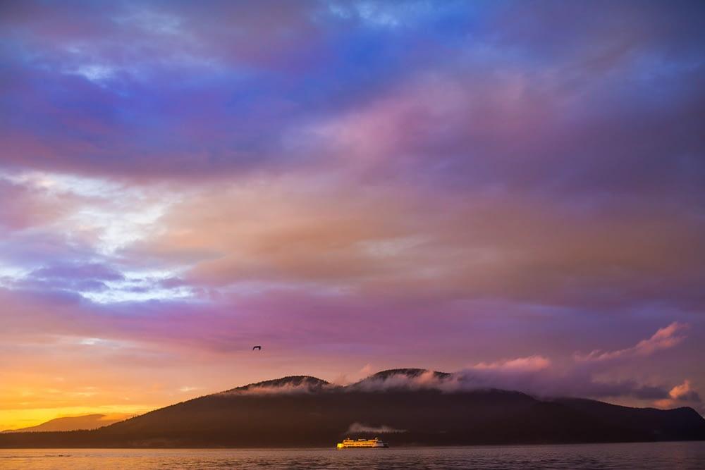 Sunset over San Juan Ferries