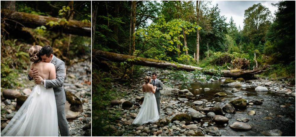 bride and groom by river Preston Community Center wedding