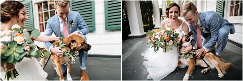 bride and groom pet their dog ranier chapter house wedding
