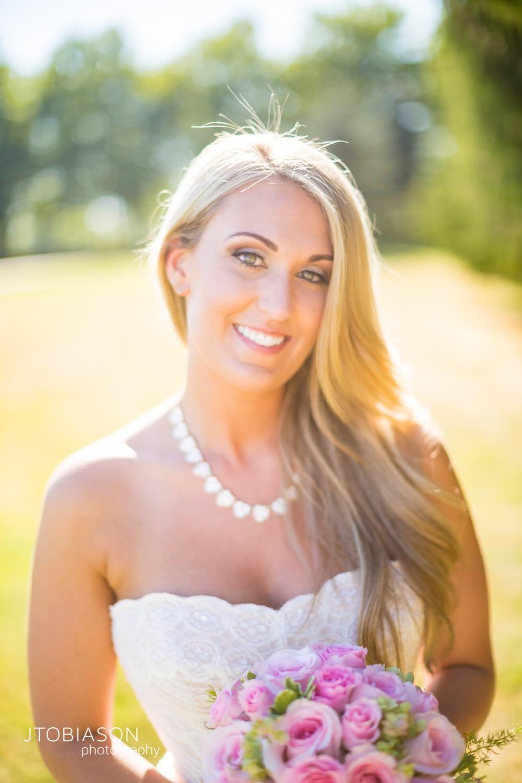 smiling bride backyard wedding photo